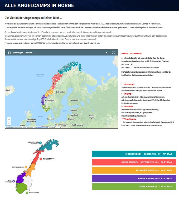 Startseite Vergleichsportal alle Camps in Norge GoogleMyMaps